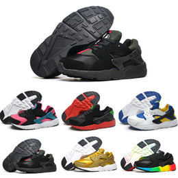 Wholesale Children Train - New Air Huarache V1 Kids Running Shoes Portable Children Athletic Shoes Boys Girls Sports Shoes Baby Training Sneaker Black White Red Blue