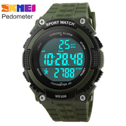 Wholesale Diver Clock - pedometer running watches men boy women sport digital LED watch 50M waterproof army green black rubber band clock SKMEI brand