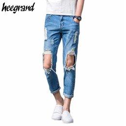 Wholesale Harem Pants Plaid Man - Wholesale-Men Distressed Jeans 2016 New Summer Style Men's Ankle-length Distressed Jeans Men Light Blue Thin Denim Harem Pants MKN564