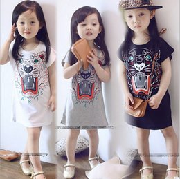 Wholesale Children Design Dresses - 3-7years Tiger Design 2016 New Style Summer Dress Girls Clothes Kids Children Girl Dresses