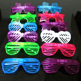 Wholesale New Shutter Fashion - 6pcs lot Fashion Shutters Shape LED Flashing Glasses Light up kids toys christmas Party Supplies Decoration glowing glasse