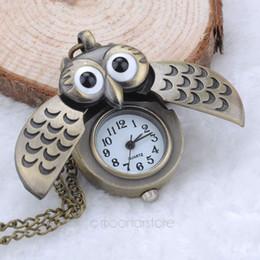 Wholesale Unique Clocks - Wholesale-Unique Antique Fashion Alloy Vivid Owl Pocket Watch Pendent Necklace Chain Vintage Fob Watch Active Wings Clock