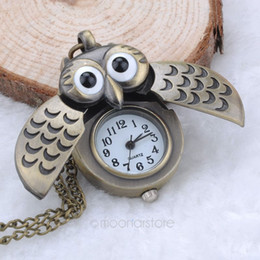 Wholesale Vintage Watch Fob Chain - Wholesale-Unique Antique Fashion Alloy Vivid Owl Pocket Watch Pendent Necklace Chain Vintage Fob Watch Active Wings Clock