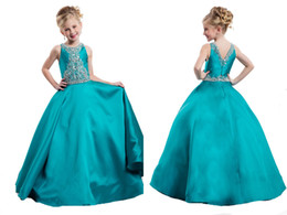 Wholesale Angle Kids Dress - Princess girls Dress Pefect Angle With Backless Ball Gowns Party Dance Dresses Full Sequint Long Sweet Kids Pageant Dresses