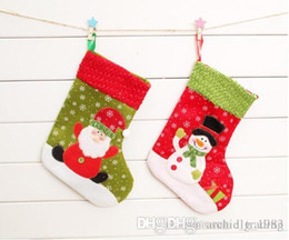 Wholesale Christmas Socks Decorate - 2016 Hot s Christmas Gift Socks Decorate 25cm Height Two Styles Santa Claus& Snowman Patch Snow Gift Stockings (12pcs lot)