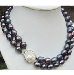 Wholesale 13mm Pearl Necklace - EXQUISITE HOT 2ROW 11-13MM BLACK BAROQUE SOUTH SEA REBORN PEARL NECKLACE 18 INCH