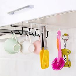 Wholesale Iron Cabinets - Wholesale- Creative Iron Cabinet Wardrobe Hangers Free Nail Kitchen Storage Rack With 6 Hooks