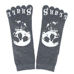 Wholesale One Toe Socks - Wholesale-IMC One Pair Men's Five Toe Crew Socks - Dark Gray with Skull Pattern