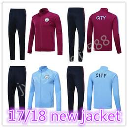 Wholesale Thai Quality Free Shipping - top thai quality 2017 2018 city jackets survetement kits 17 18 KUN AGUERO DE BRUYNE G.JESUS tracksuit jacketS Sweatshirt free shipping