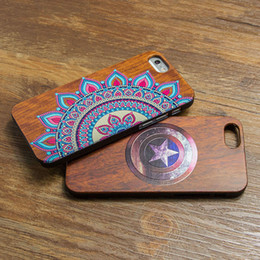 Wholesale Hard Wood Back Cover Case - NEW Natural Wooden Protection Back Cover 3D Relief Bamboo Wood Hard Captain America Case For iphone 6 6s Plus 5 5s se
