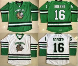 Wholesale Blue Cam - North Dakota Hockey Jersey 2 STECHER 9 CAGGIULA 16 Brock Boeser 33 Cam Johnson 100% Stitched Fighting Sioux DAKOTA Hockey Jerseys