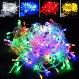Wholesale Blue Led Light Battery - 20m 10M 1m 2m Waterproof 110V 220V led string 100 LED 200led RGB holiday cork String lights for Christmas Festival Party Lights