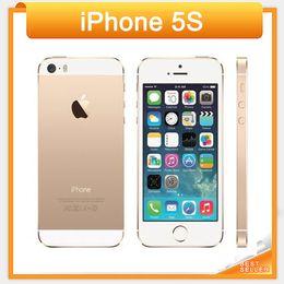Wholesale Apple 5s Gold Unlocked - Free DHL iPhone 5s Unlocked 16GB 32GB 64GB ROM 8MP camera 1136x640 pixel WIFI GPS Bluetooth Cell phone multi language