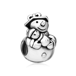 Wholesale Merry Christmas Baby - 10pcs per lot Merry Christmas Rhodium Plating Mom and Baby Heart Love Snowman Charms Fits Pandora Bracelet