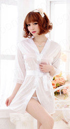 Wholesale Kimono Robe Satin Wholesale - Wholesale-Bathrobe Womens Kimono Satin Long Robe Sexy Lingerie Hot Nightgown Sleepwear female deep V-neck dress With G-string 6 colors