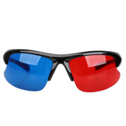 Wholesale Red Blue Anaglyph - Red Blue Plasma TV Movie Dimensional Anaglyph Half-frame 3D Vision Glasses Free Shipping glasses personalized
