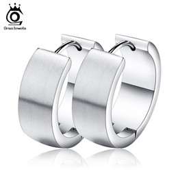 Wholesale Hoop Crystal Earings - Orsa Jewelry New Arrival Woman's Hoop Earring Stainless Steel Earings Gold  Silver Black  Rose Gold Plated Jewelry GTE55