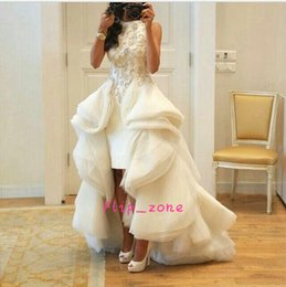 Wholesale Lace Over Satin Dress - Ivory Organza Hi-Lo 2016 Sheath Evening Dresses with Over Skirts Ruffles Train High front and Long Back Beaded Top Arabic Prom Foraml Gowns