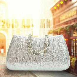 Wholesale Silver Clutch Bags For Prom - Handpicked! High Quality Bark Pattern PU Evening Bag Hard Diamond U Clasp Clutch Wedding Purse Handbag for Prom - RC001