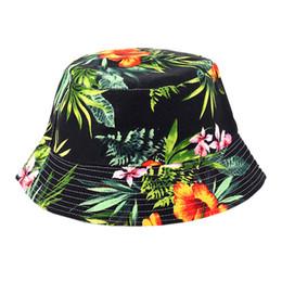 Beanie del pescatore all'ingrosso online-Cappello da sole floreale all'ingrosso delle donne, cappelli del pescatore del Boonie della tela di estate del fiore della spiaggia di progettazione, protezione del cappello del secchio di pesca di protezione del sole per la ragazza