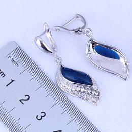 Wholesale Earring Gift Bags - 925 Sterling Silver Jewelry Leaf Shaped Blue Sapphire & Cubic Zirconia Huggie Hoop Earrings for Wedding Free Gift Bag J0498