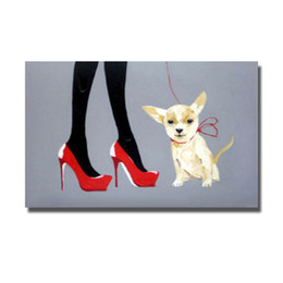 Wholesale hand painted heels - High Heel Women with Her Pet Dog Oil Painting Hand made Canvas Painting Living Room Wall Decor Abstract Wall Pictures Hand made No Framed