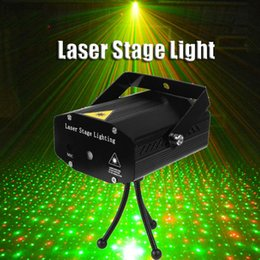 Wholesale Stage Light Wholesaler - Portable Mini Led Laser Projector DJ Disco Light Red And Green Music Stage Lights Xmas Party Wedding Club Show Laser Lighting