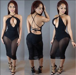 Wholesale Women Black Mesh Backless Dresses - Sexy Club Dresses 2017 Women New Backless Lace Up See Through Mesh Patchwork Bodycon Dress Fashion Bandage Party Dresses
