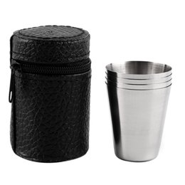 Wholesale Popular Coffee Mugs - Portable 4pcs Stainless Steel 30ML, 70ML, 180ML Camping Cup Mug Red Wine White Spirit Liqueur Drinking Coffee Tea With Case Popular Outdoor