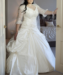 Wholesale Illusion Bridal Gowns Winter - Plus Size Fit and Flare Wedding Dresses with Illusion Long Sleeve Sweetheart Luxury Beaded Corset Ball Gown Bridal Dress 2016 Winter New