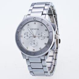 Wholesale geneva hours - Hot Sale Men Watches Luxury Top Brand GENEVA Stainless Steel Quartz Watch Male Casual Hours Clock Men Business watch