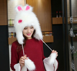 Wholesale Penguin Hat Adult - Faux Fur Hats For Women Winter Cotton Beanie Caps Winter Lace Up Ski Knitted Cap Rabbit Penguin Warm Winter Hat