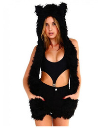 Wholesale Women Faux Fur Winter Hoodie - Woman Scarf Winter Cotton Full Animal Hood Hoodie Hat Faux Fur 3 In 1 Function Paw Mittens Gloves