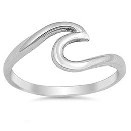 Wholesale Island Wholesalers - Summer Beach Stainless Steel Wave Ring Handmade Wire Wrap Surf Rings For Women Island Jewelry Birthday Party Gifts Wedding Rings 080267