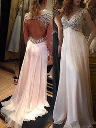 Wholesale Open Back Empire Dress - 2016 Sexy Prom Dresses Long Pearl Pink Open Back Empire V-neck Chiffon With Beading Crystal Sweep Train Elegant Evening Dress For Pregnant