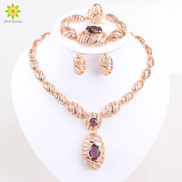 Wholesale Purple Costume Jewelry - New Design 18K Gold Plated African Costume Fashion Necklace Set Vintage Purple Zircon Charm Women Party Gifts Jewelry Sets