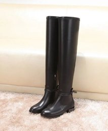 Wholesale Laced Long Knee High Black Boots - Women Over The-Knee Leather Studded Heel Boots Fashion rivets lace laides thigh high boots fashion leather boots women long boot