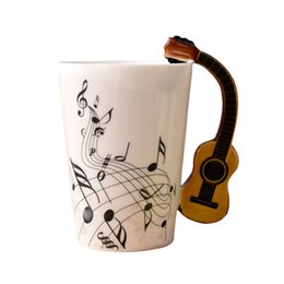 Wholesale Stylish Mug - Wholesale- New Stylish Ceramic Music Score Design Cups Mugs with Violin Guitar Hand Shank Coffee Cups
