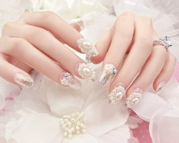 Wholesale Acrylic Pearls Gel - Wholesale- Wedding design silver Sparking Pearls 3D false nails set 24PCS UV GEL Nail Polish Finished Fake Nails Full Cover bling nail tips