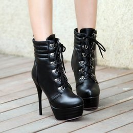 Wholesale Thick Lace Shorts - Free shipping High Fashion ladies short boots booties thin high heel thick platform booties round toe lace up lady cheap fashion boot 309-13