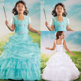 Kommunionsjacken online-Grüne Blumen-Mädchen-Kleider für Hochzeiten Kurzarmjacke Ballkleid drapierte Geißlein Erstkommunion Kleid-Festzug-Partei-Kleid