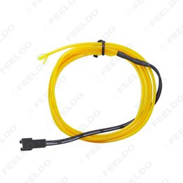Wholesale 1m Flexible Neon Rope - 30set lot Yellow 1m Flexible Moulding EL Neon Glow Lighting Rope Strip With Fin For Car Decoration