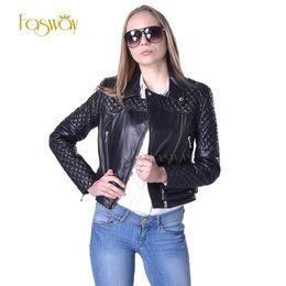 Wholesale Leather Jacket Women Punk Rock - Wholesale-Factory Quilted Leather Jacket For Women 100% Real Genuine Sheepskin Brand Black Short Punk Rock Biker Women's Winter Coat