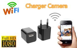 Wholesale Usb Surveillance Dvr Wireless Camera - wifi charger camera wireless spy hidden cameras HD 1080P US EU AC Adapter Plug Hidden DVR Wall USB Charger Camcorder Home Surveillance Cam