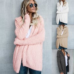 Wholesale Ladies Hooded Wool Coats - Autumn Winter Coat Women Long Sleeve Cardigan Hooded Wool Coat Pink White Khaki Ladies Coat Jacket Casaco Feminino Overcoat DY171010