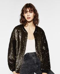 Wholesale Bronze Jacket - Coats Promotion Sale Acetate Streetwear Zippers Full Regular Solid 2017 European Women's Sequins Loose Metal Foil Bronze Jacket