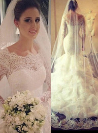 Wholesale Cascade Veil - Tiered Ruffled Organza Long Sleeves Mermaid Wedding Dress Honorable Sheer Lace Edge Neck Court Train Bridal Gowns With Long Veil