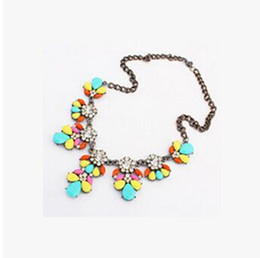 Wholesale Crystal Bib Necklace Wholesale - Bib Choker Necklace Fluorescence Crystal Gem Flower Drop For Women Girl Jewelry Statement Necklace Bib Choker