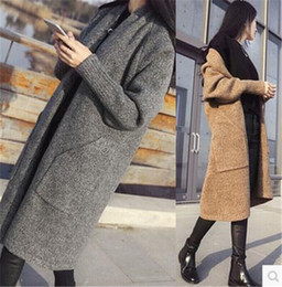 Wholesale Thick Card - 2017 autumn and winter new women fashion long-sleeved cardigan sweater jacket knitted long cashmere coat gray card its free size