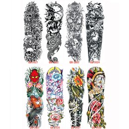Wholesale Tattoos Arm Designs For Men - 3Pcs Temporary Tattoo Sleeve Waterproof Tattoos for Men Women Cool Design Transferable Tattoos Metallic Stickers On The Arm Body
